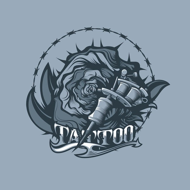 Thorns, rose and tattoo machine. monochrome tattoo style. Premium Vector