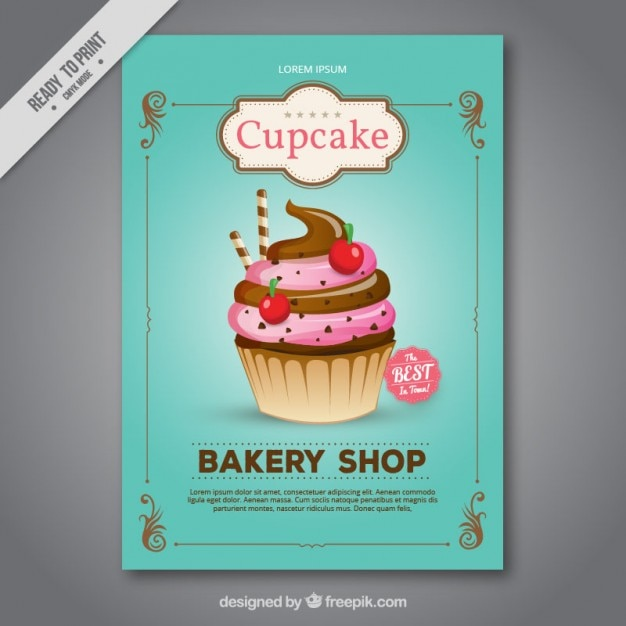 Thorough cupcake bakery shop flyer  Free Vector