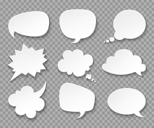 Thought balloons. paper white speech clouds. thinking bubbles retro 3d set Premium Vector