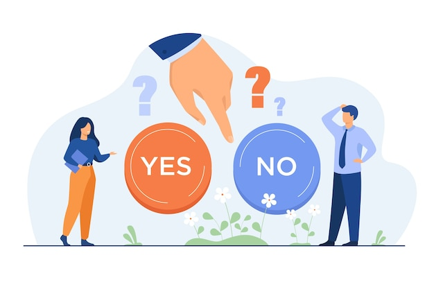 Thoughtful people making difficult choice between two options isolated flat illustration. Free Vector