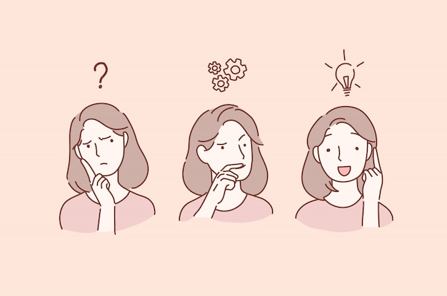 Thoughtful serious young women with hand on him feeling doubt thinks and finds a solution. Premium Vector