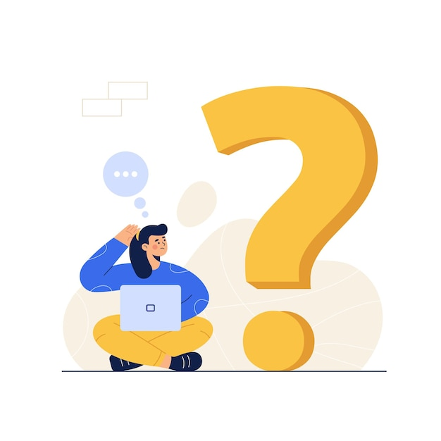 Thoughtful woman with laptop looking at big question mark Free Vector