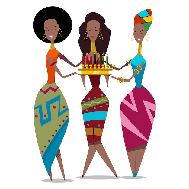 Three african women with candles Premium Vector