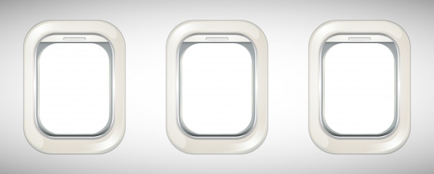 Three airplane windows with screen open