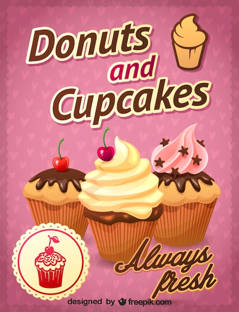 Three appealing cupcakes Free Vector