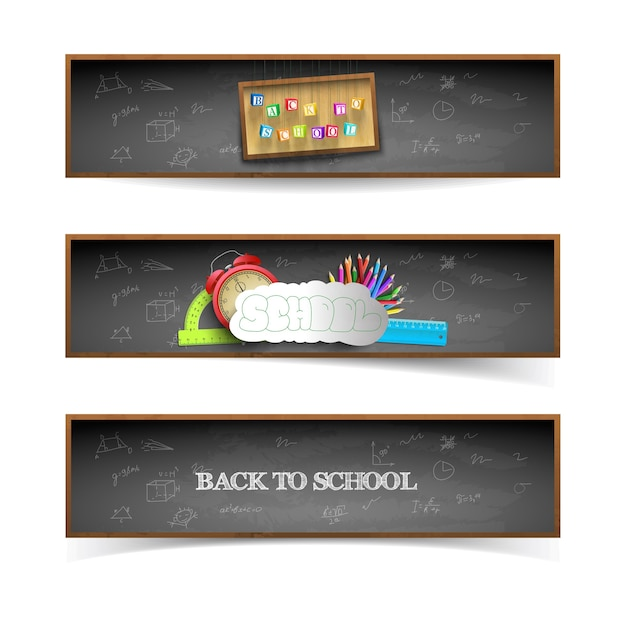 Three back to school banners set with blackboard Free Vector