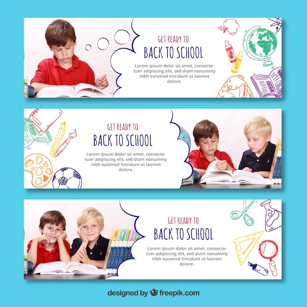 Three back to school banners with image Free Vector