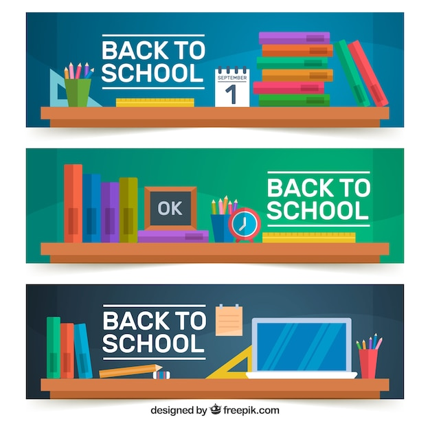 Three back to school banners