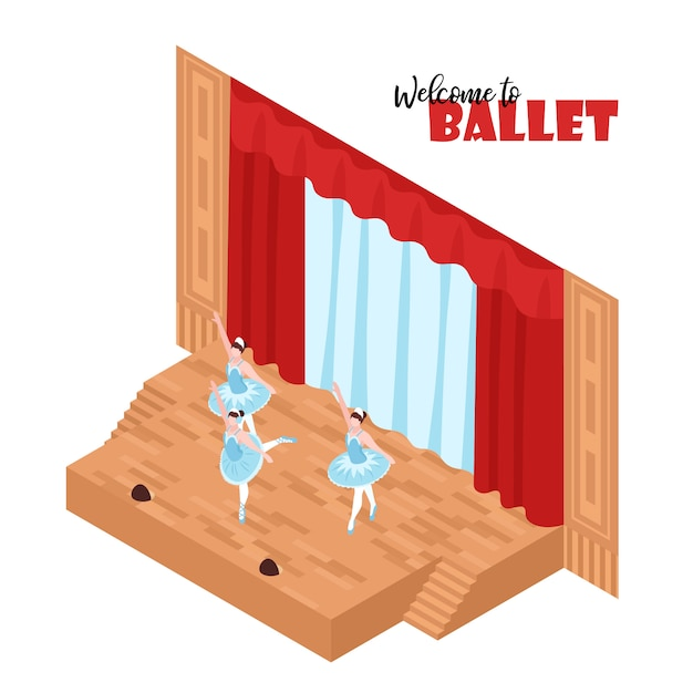 Three ballerinas performing on theatre stage 3d isometric Free Vector