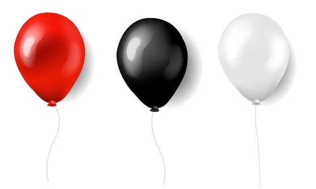 그라디언트 메쉬가있는 3 개의 풍선 빨간색 흰색과 검은 색 실크, 프리미엄 벡터