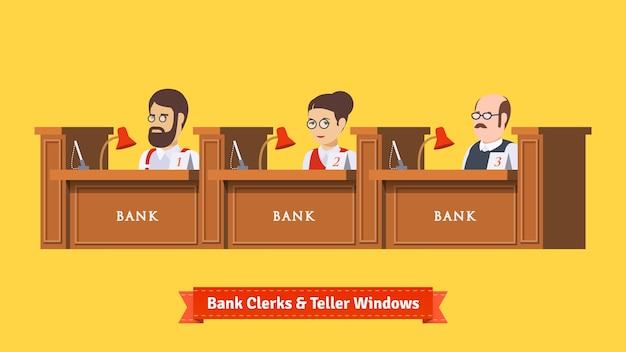 Three bank clerks at work Free Vector