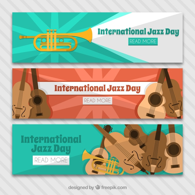 Three banners set of the international jazz day