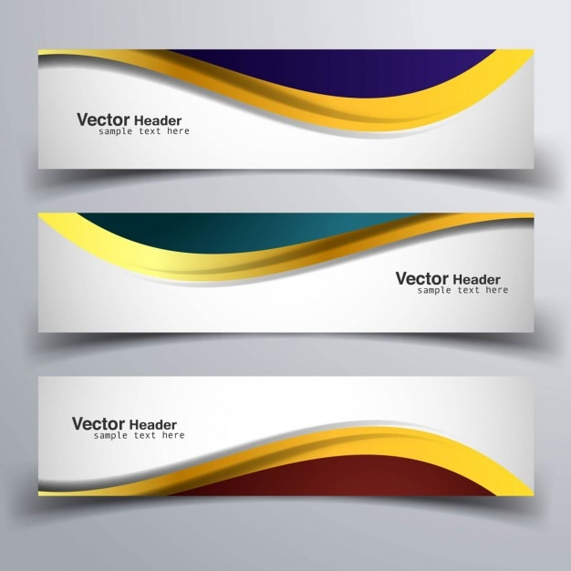 Three banners with golden shapes Free Vector