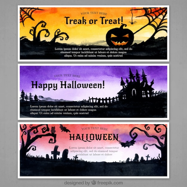 Three banners with horrific scenes of halloween Free Vector