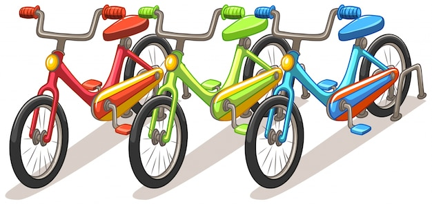 Three bicycles in different colors\ illustration