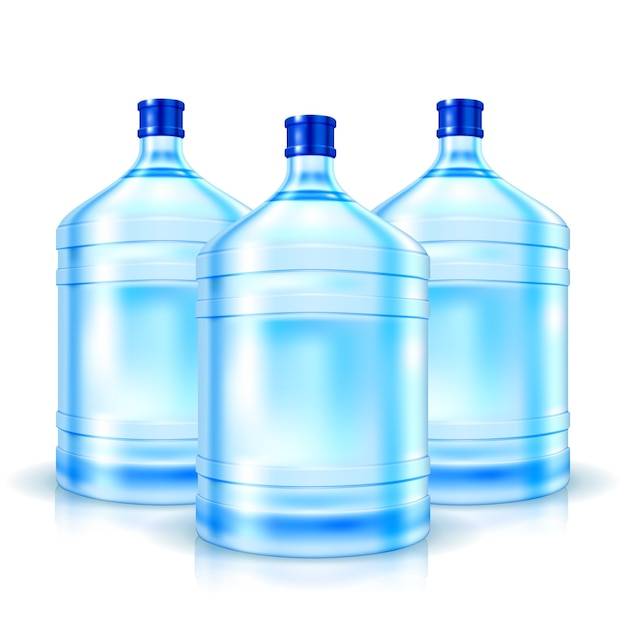Three big bottles with clean water isolated Free Vector