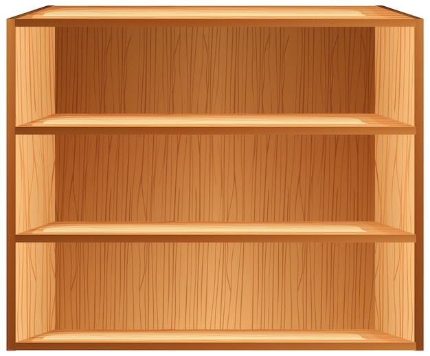 Three blank shelves in cartoon style isolated on white background Free Vector