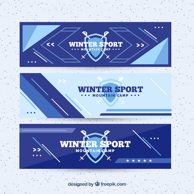 Three blue winter sport banners