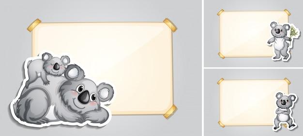 Three border templates with koala bears Free Vector