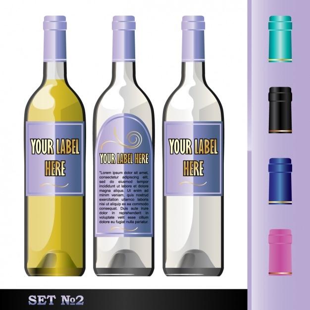 Three bottles for drinks Free Vector