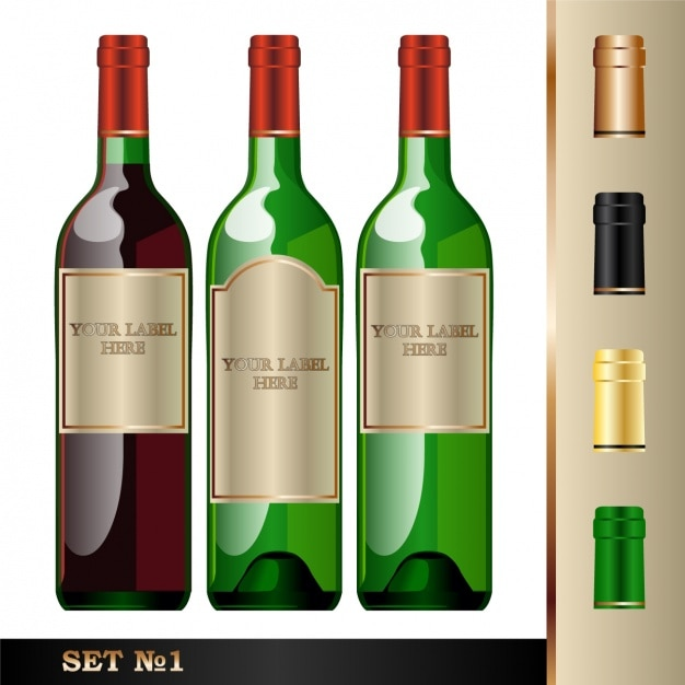 Three bottles for wine Free Vector