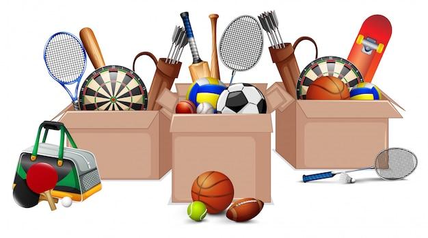 Three boxes full of sport equipments on white Premium Vector