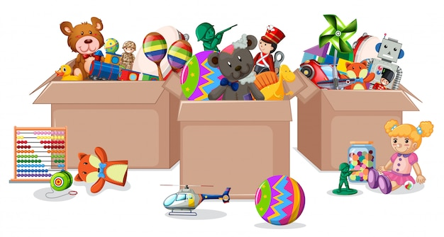 Tre scatole piene di giocattoli su bianco Vettore gratuito
