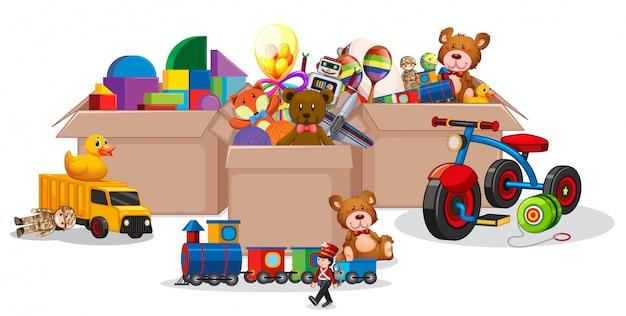 Three boxes full of toys on white Premium Vector
