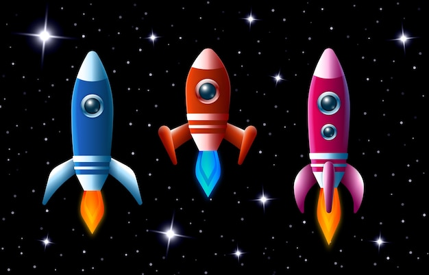 Три ярко окрашенные векторные ракеты в космическом пространстве с турбонаддувом и пламенем, летящие по темному звездному небу, набор из трех разных космических кораблей для детей. Бесплатные векторы