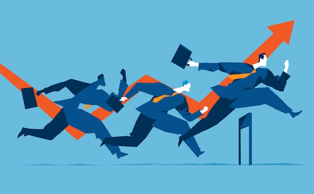 Three businessmen running over the obstacles Premium Vector