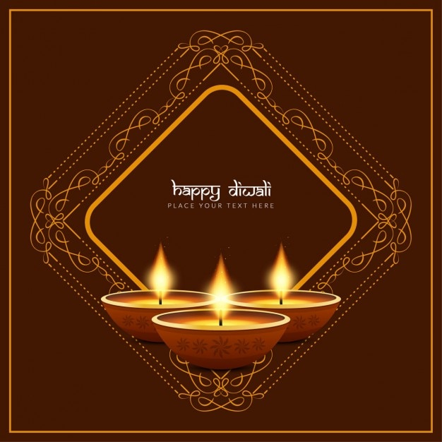 Three candles for diwali on a brown background with ornaments Free Vector