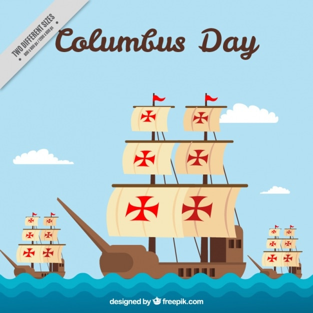 Three caravels in flat style for columbus day Free Vector