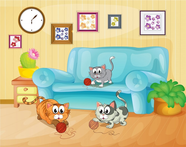 Three cats playing inside the house Free Vector