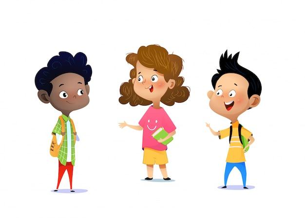 Premium Vector | Three children are discussing a school assignment.