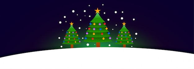 Three christmas tree banner with text space Free Vector