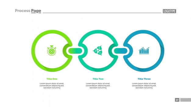 Three circles process chart slide template Premium Vector