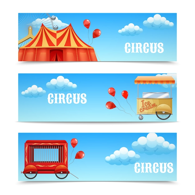 Three circus banners with arena ferris wheel balloons cage wagon ice cream cart Free Vector
