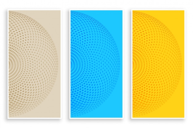 Three color circular halftone banners Free Vector