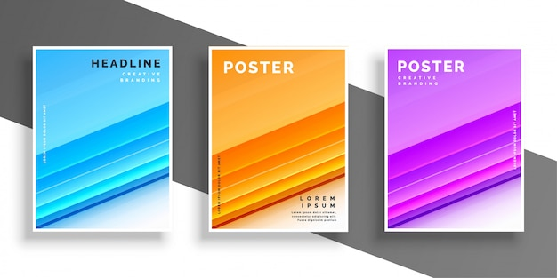 Three color modern cover design template or flyer Free Vector