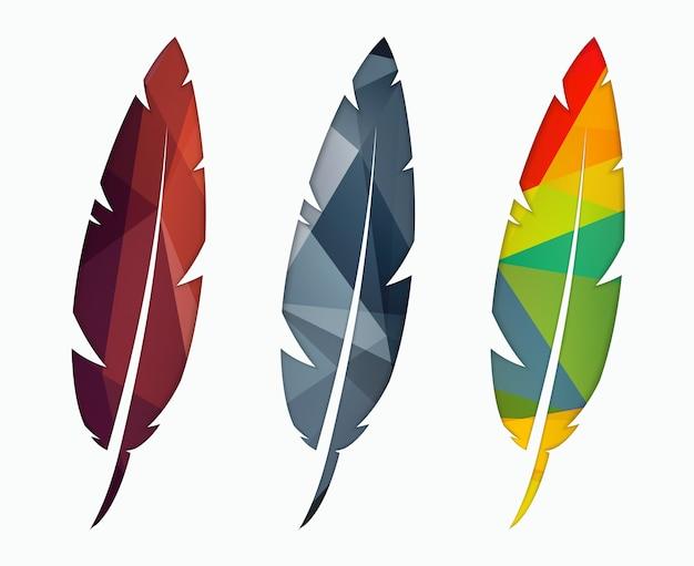 3色の抽象的な多角形の羽 Premiumベクター