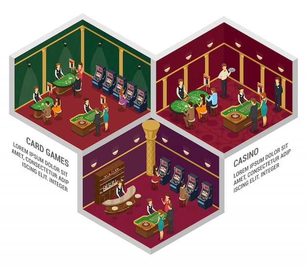 Three colored casino isometric interior compositions with card games and casino descriptions Free Vector