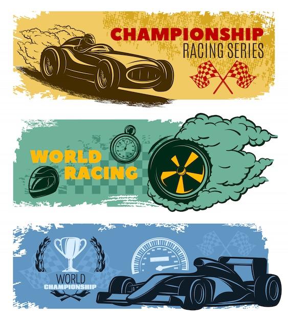 L'insegna di corsa orizzontale colorata tre ha messo con l'illustrazione di vettore di corsa del mondo di serie di corsa di campionato di titoli di campionato e di campionato del mondo Vettore gratuito