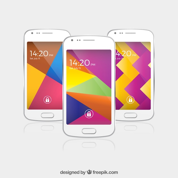 Three colorful abstract wallpapers for mobile