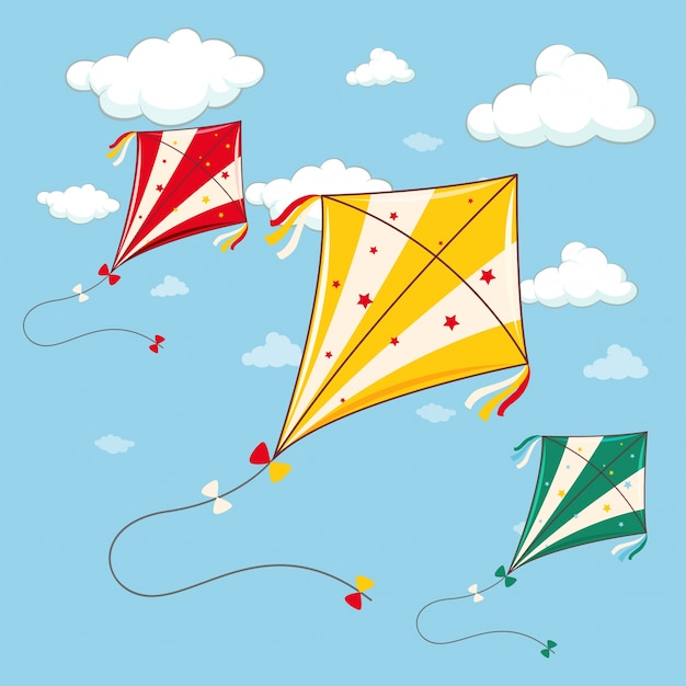 Three colorful kites in the blue sky Free Vector