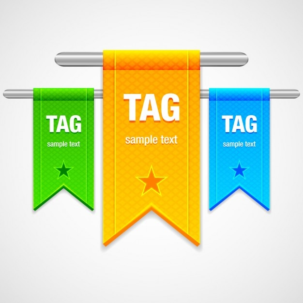Three colorful ribbons Free Vector