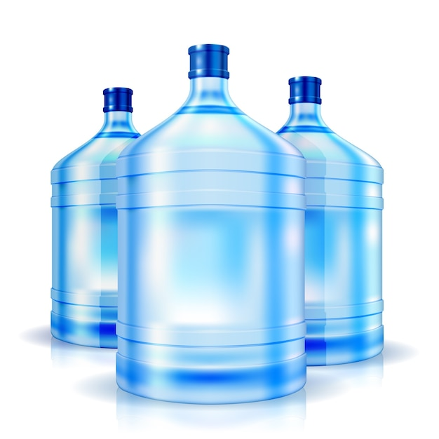 Three cooler isolated bottles of water Free Vector