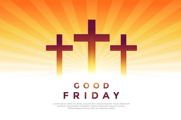 良い金曜日のための3つのクロス輝くシンボル 無料ベクター