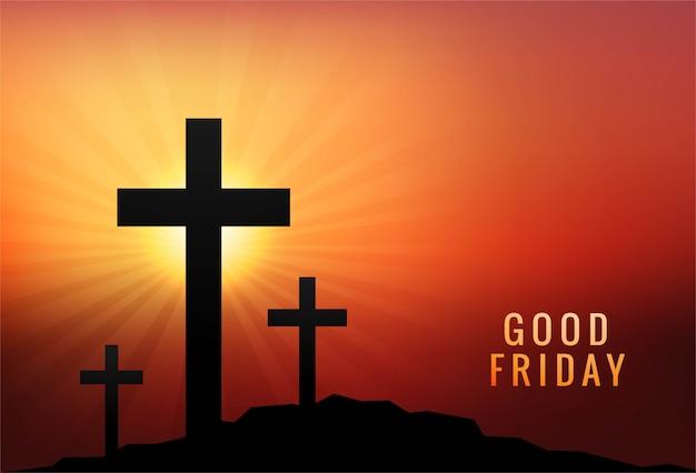 좋은 금요일 배경 일몰에 3 개의 십자가 무료 벡터