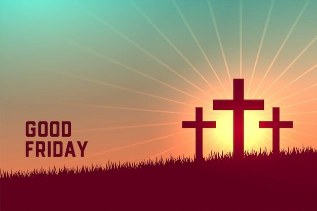 金曜日の良いイベントの3つの十字架シーン 無料ベクター