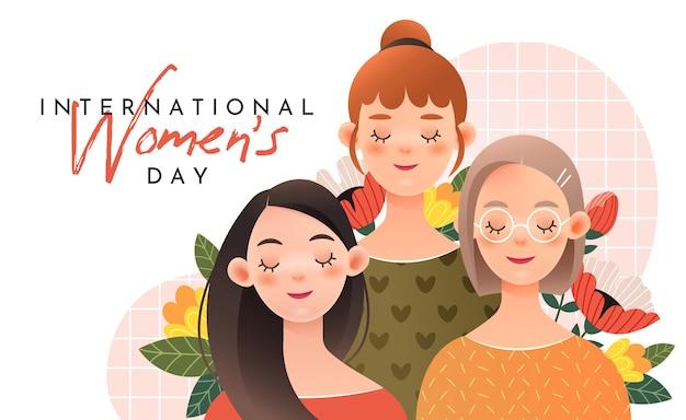 Три милые девушки с надписями: международный женский день Premium векторы